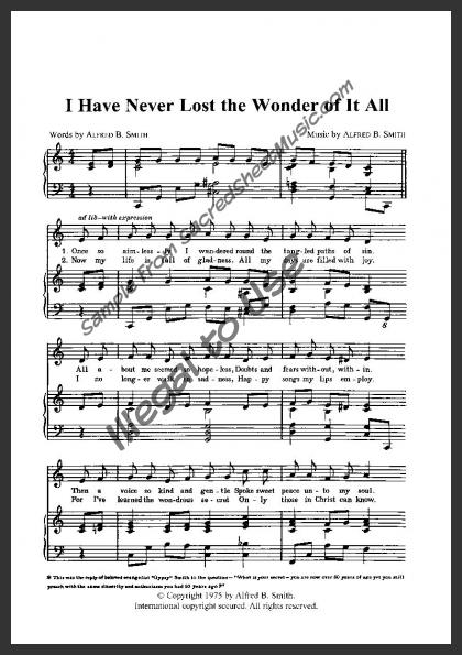 I Have Never Lost The Wonder Of It All Sacredsheetmusic Com